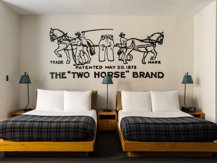 Ace Hotel New York City, double bed guest room with wall art