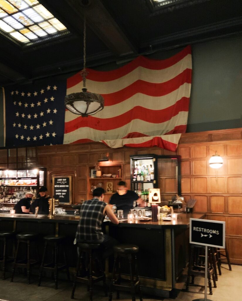 Ace Hotel New York City, bar with american flag