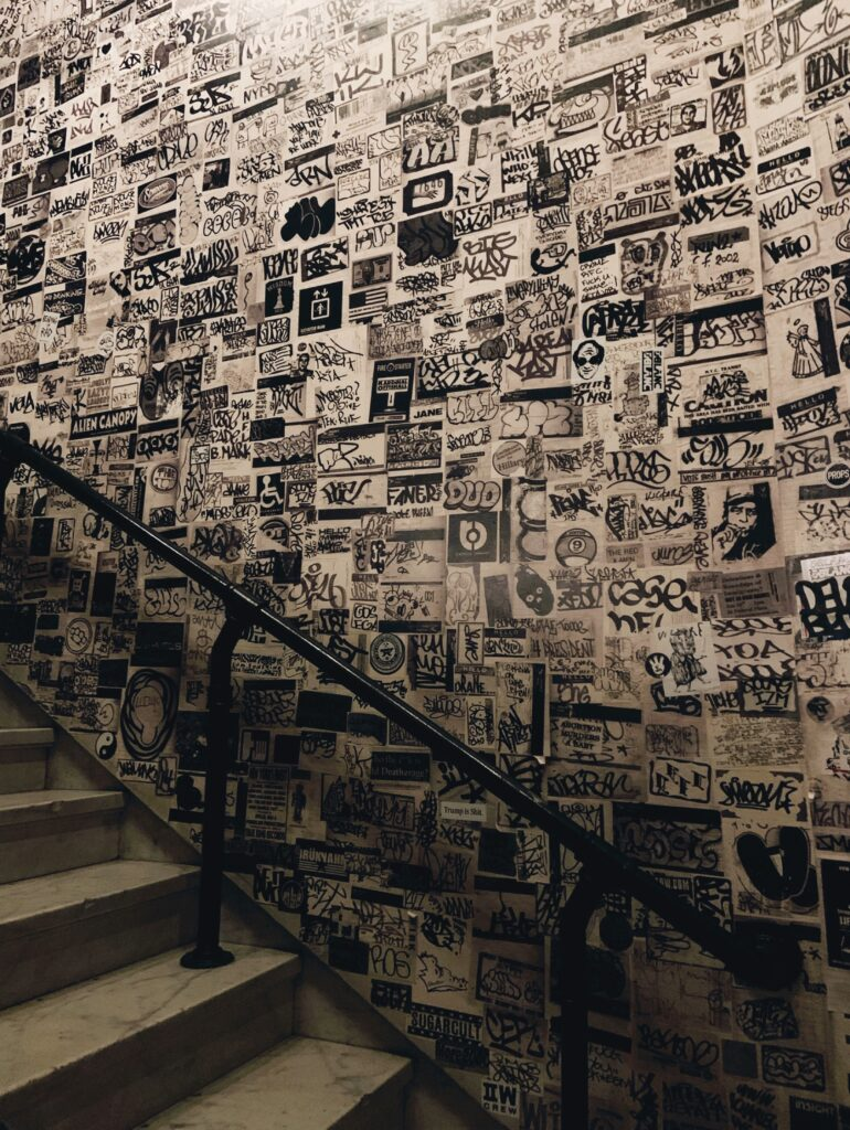 Ace Hotel New York City, stairs to nowhere, black and white graphic graffiti wall