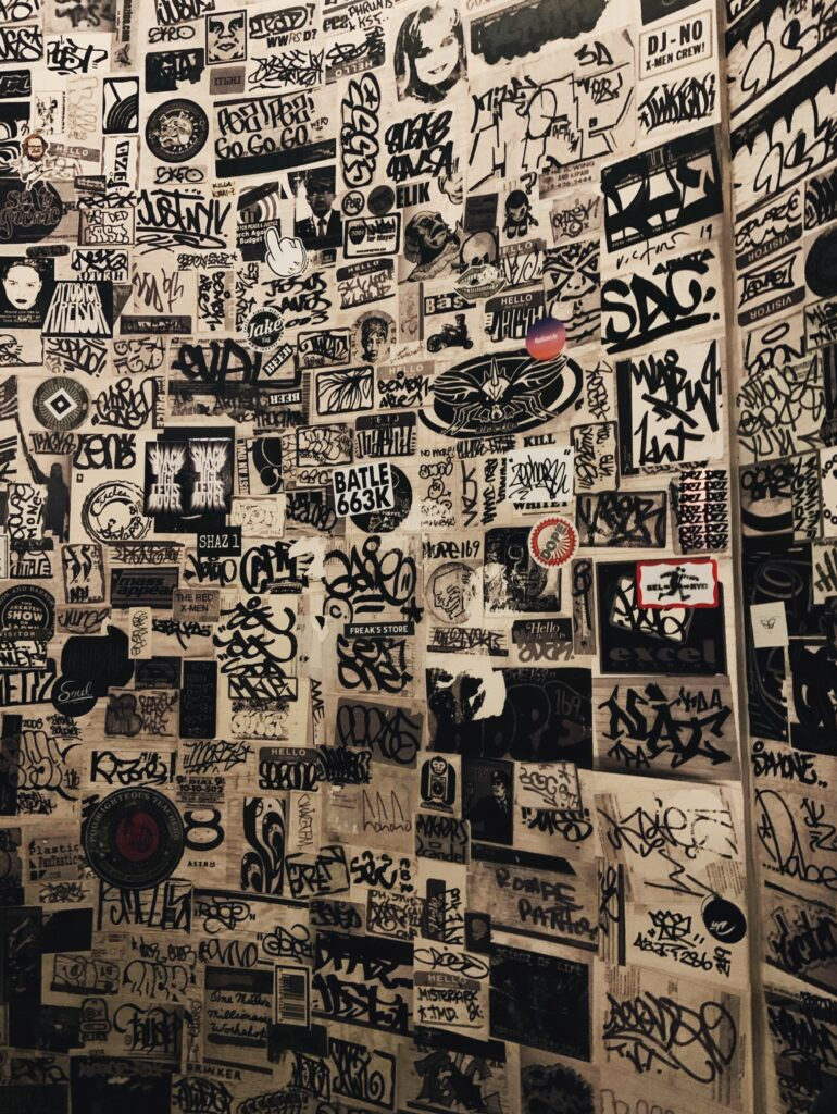Ace Hotel New York City, stairs to nowhere, black and white graphic, graffiti wall