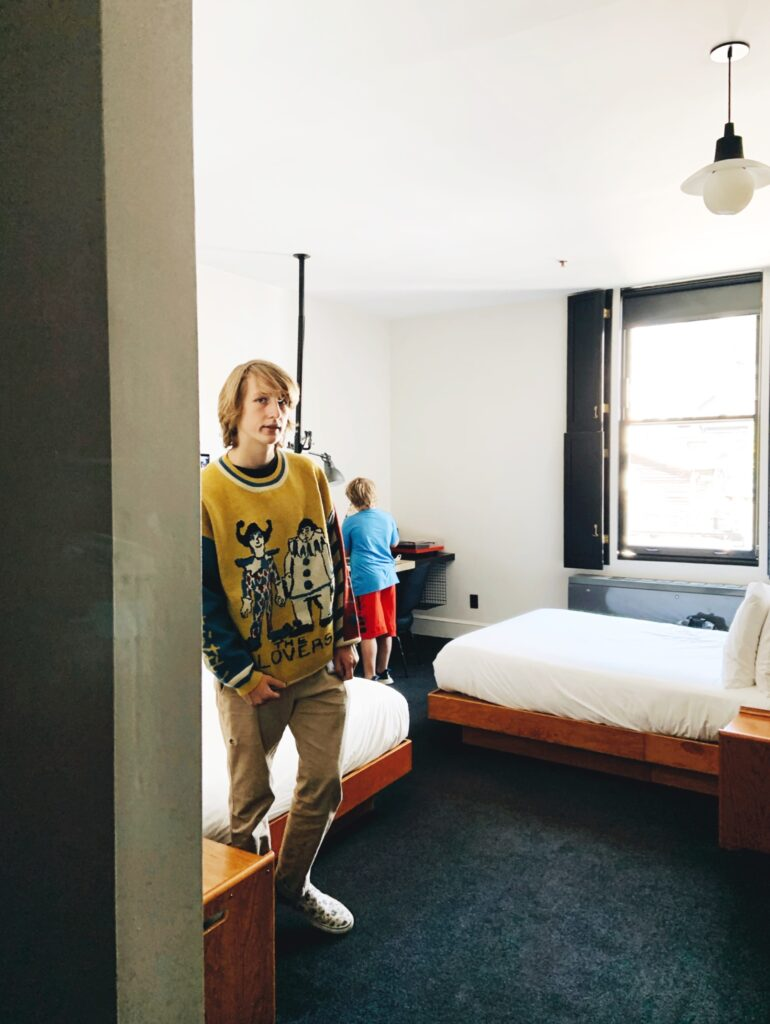 Ace Hotel New York City, our sons in our guest room.